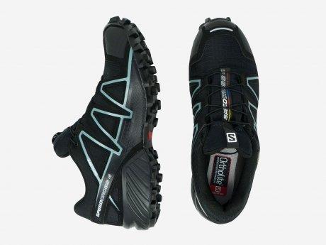 Damen Laufschuhe Speedcross 4 GTX W, BLACK/BLACK/Metallic Bubble Blue, 5